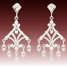 Etched Chandelier Earrings - 14k White Gold Dangles Pierced