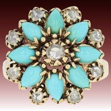 Vintage Turquoise & Diamond Flower Ring - 14k Gold Halo Cabochon Rose Cut .60ctw
