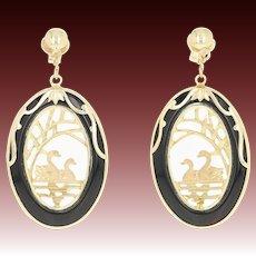 Onyx Swan Earrings - 14k Gold Nature Pond Scene Pierced Dangles