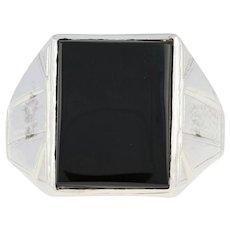 Art Deco Onyx Ring - 10k White Gold Etched Men's Vintage