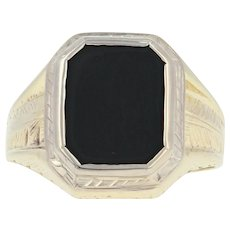 Art Deco Onyx Ring - 10k Yellow Gold Etched Vintage Men's