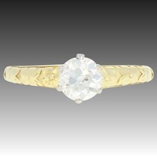Art Deco Diamond Engagement Ring - 14k Gold Platinum Vintage GIA European .62ct