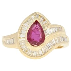 Ruby & Diamond Bypass Ring - 18k Yellow Gold Halo Baguette 1.48ctw