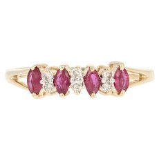 Ruby & Diamond Ring - 14k Yellow Gold Size 8 Marquise .61ctw