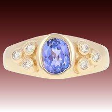 Tanzanite & Diamond Ring - 14k Yellow Gold Size 4 1/4 Oval .73ctw