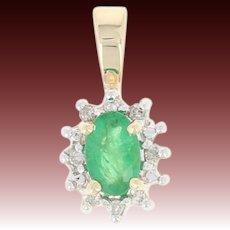 Emerald & Diamond Halo Pendant - 14k Yellow Gold Oval .54ctw