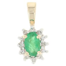 Emerald & Diamond Halo Pendant - 14k Yellow Gold Oval .54ctw