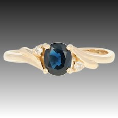 Sapphire & Diamond Bypass Ring - 14k Yellow Gold .67ctw