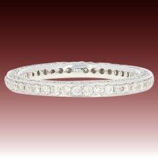 Diamond Eternity Wedding Band - 14k White Gold Ring Size 6 1/2 Round Cut 1.01ctw