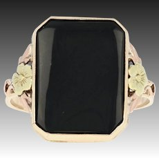 Vintage Onyx Solitaire Ring - 10k Yellow Green Rose Gold Bezel Flower Detail