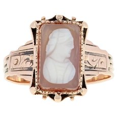 Victorian Carved Hardstone Agate Cameo Ring - 10 Rose Gold Pink Antique Detail