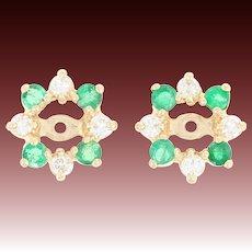 Diamond & Emerald Halo Earring Enhancers - 14k Yellow Gold Floral Jackets .68ctw