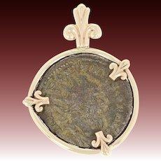 Postumus Bronze Follis Ancient Coin Pendant 14k Gold Frame C. 260 AD Roman