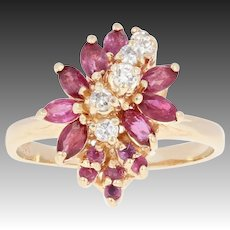 Ruby & Diamond Waterfall Ring - 14k Gold Cluster Marquise Brilliant 1.28ctw