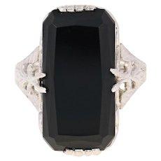Art Deco Onyx Ring - 10k White Gold Vintage Size 4 Ornate Detail