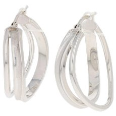 Italian Wave Hoop Earrings - 14k White Gold Brushed Texture Pierced