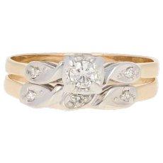 Vintage Diamond Engagement Ring & Wedding Band - 14k Gold Round Brilliant .14ctw