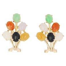 Black Nephrite Jade & Multi-Color Jadeite Jade Earrings - 14k Gold Clip-Ons