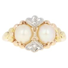 Vintage Cultured Pearl Ring - 10k Gold Diamond Accents Size 5 1/2