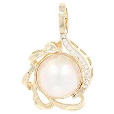 Mabe Pearl & Diamond Enhancer Pendant - 14k Yellow Gold Round Brilliant .18ctw