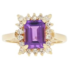 Amethyst & Diamond Halo Ring - 14k Yellow Gold 1.87ctw