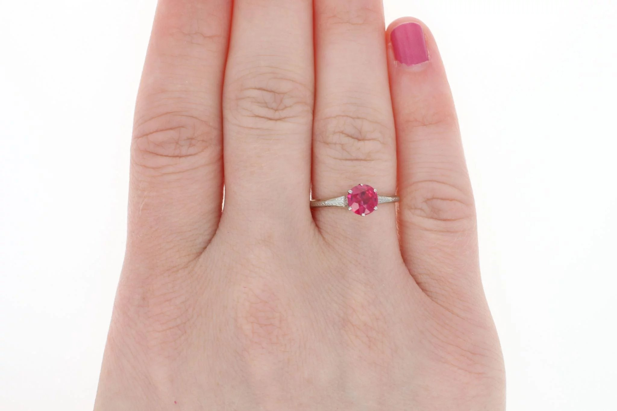 Art Deco Synthetic Ruby Ring - 14k Yellow Gold Vintage Engagement ...