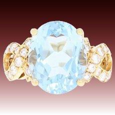 Aquamarine & Diamond Cocktail Ring - 18k Yellow Gold Oval Brilliant 7.23ctw