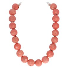 "Bold Coral Necklace 20 3/4"" Sterling Silver Giant Beads Toggle Clasp 295.8 Grams"