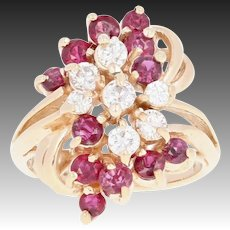 Ruby & Diamond Cluster Bypass Ring - 14k Yellow Gold Round Brilliant 1.00ctw