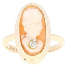Vintage Carved Shell Cameo Ring - 10k Yellow Gold Diamond Accent Size 5