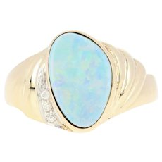 Blue Opal & Diamond Ring - 14k Yellow Gold Doublet Freeform Cabochon