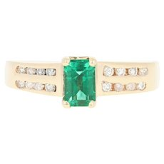 Synthetic Emerald Solitaire Ring - 14k Yellow Gold Diamond Band Accents .79ctw