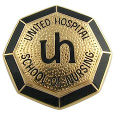 Vintage United Hospital School of Nursing Pin - 14k Solid Yellow Gold Badge UH