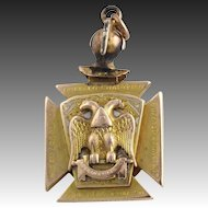 Large Antique Scottish Rite Knights Templar Masonic Fob - 14k Yellow Gold Masons