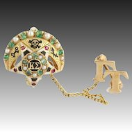 Kappa Sigma Badge Pin Natural Emeralds Rubies Seed Pearls - 14k Yellow Gold