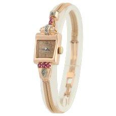 Retro Marathon Ruby and Diamond Wristwatch- 14k Rose & White Gold Serviced .41ctw