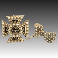 Vintage Alpha Tau Omega Fraternity Badge Pin - 14k Gold Seed Pearls 10k Guard