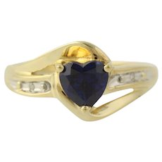Synthetic Sapphire Heart Ring - 10k Yellow Gold Band Diamond Accents Size 7 Blue