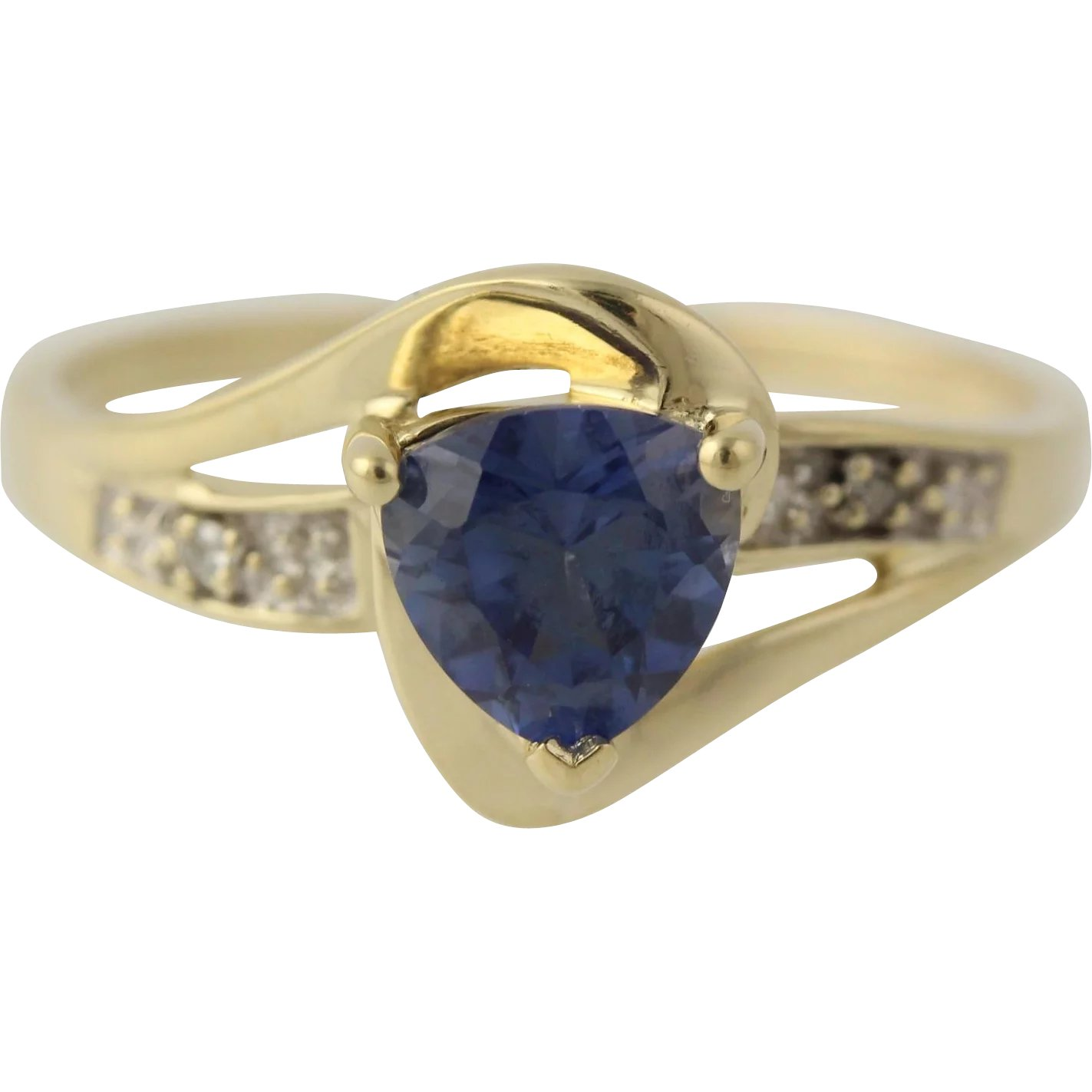 Sapphire And Diamond Ring Yellow Gold  Bypass