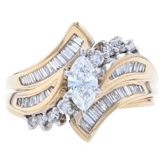 Yellow Gold Diamond Bypass Engagement Ring & Wedding Band - 14k Marquise .80ctw