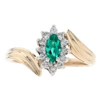 Yellow Gold Synthetic Emerald & Diamond Halo Bypass Ring - 14k Marquise .48ctw