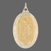 Yellow Gold Saint Christopher Pendant - 14k Protection Faith Medal