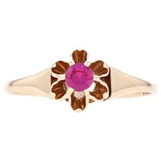 Yellow Gold Synthetic Ruby Art Deco Solitaire Ring - 14k Round .15ct Engagement