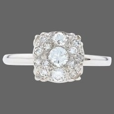 White Gold Diamond Vintage Cluster Halo Engagement Ring - 14k Round Cut .67ctw