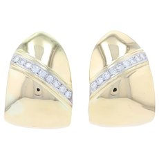 Yellow Gold Diamond Hoop Earrings - 18k Round Brilliant Cut .90ctw Pierced