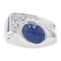Synthetic Star Sapphire & Diamond Bypass Ring -14k Gold Cabochon 2.24ctw Men's