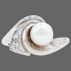 White Gold Cultured Pearl & Diamond Wave Bypass Ring - 14k Crosshatch 6.2mm