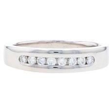White Gold Diamond Men's Wedding Band - 14k Round Brilliant .40ctw Ring
