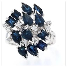 White Gold Sapphire & Diamond Cluster Cocktail Ring - 18k Pear Cut 3.49ctw