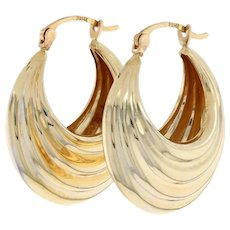 Yellow Gold Scalloped Hoop Earrings - 14k Snap Closures Pierced